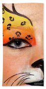 Young Female Model With Make Up Mask Beach Towel