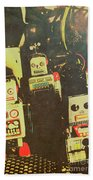 60s Cartoon Character Robots Beach Sheet