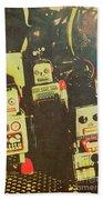 60s Cartoon Character Robots Beach Towel