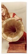 60s Pin Up Girl With Vintage Record Phonograph Beach Towel