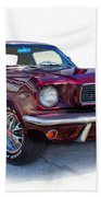 69 Ford Mustang Beach Towel by Mamie Thornbrue
