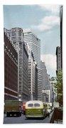 6th Avenue New York 1950 Beach Towel