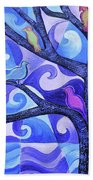 7 Birds On A Tree Beach Towel