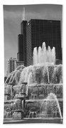 Chicago Skyline And Buckingham Fountain Beach Towel