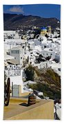 Cliff Perched Houses In The Town Of Oia On The Greek Island Of Santorini Greece Beach Towel
