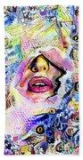 Hidden Face With Lipstick Beach Towel