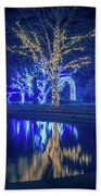 Lights, Christmas, Light, Christmas Tree, Green, Color, Red, Blu Beach Towel