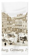 Street Market, Coburg, Germany, 1903, Vintage Photograph Beach Towel