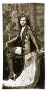 Vintage Nude Postcard Image Beach Towel