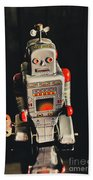 70s Mechanical Android Bot  Beach Towel