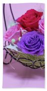 A Gift Of Preservrd Flower And Clay Flower Arrangement, Colorful Beach Towel