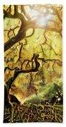 9 Abstract Japanese Maple Tree Beach Sheet