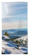 Amazing Winter Landscape With Frozen Snow-covered Trees On Mountains In Sunny Morning  Beach Towel
