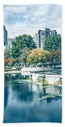Charlotte North Carolina Cityscape During Autumn Season Beach Towel