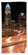Charlotte North Carolina Skyline View At Night From Roof Top Res Beach Towel
