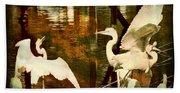 9 Egrets Beach Towel