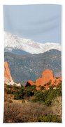 Garden Of The Gods And Pikes Peak Beach Towel