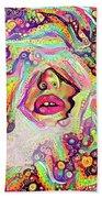 Hidden Face With Lipstick Beach Sheet