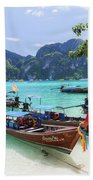 Long-tail Boats, The Andaman Sea And Hills In Ko Phi Phi Don, Th Beach Sheet