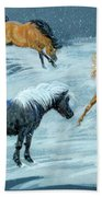 #9 - Ponies In Snow Beach Towel