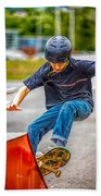 skate park day, Skateboarder Boy In Skate Park, Scooter Boy, In, Skate Park Beach Towel