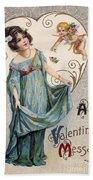 Valentines Day Card Beach Towel