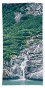 Waterfall In Tracy Arm Fjord, Alaska Beach Towel