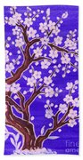 White Tree In Blossom, Painting Beach Towel