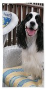 #940 D1036 Farmer Browns Springer Spaniel Happy For You Have A Happy Day Beach Towel