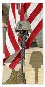A Battlefield Memorial Cross Rifle Beach Towel by Stocktrek Images