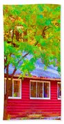 A Beautiful Country Building In The Fall 1 Beach Towel