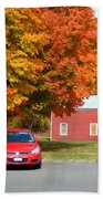 A Beautiful Country Building In The Fall 4 Beach Towel