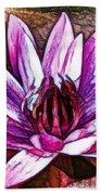 A Beautiful Purple Water Lilies Flower Beach Sheet