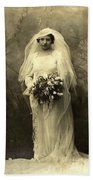 A Beautiful Vintage Photo Of Coloured Colored Lady In Her Wedding Dress Beach Towel
