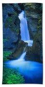 A Beautiful Waterfall, Johnston Canyon Beach Towel