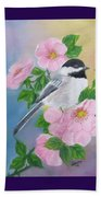 A Blackcapped Chickadee And Roses Beach Towel