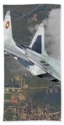 A Bulgarian Air Force Mig-29 In Flight Beach Towel