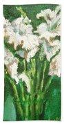 A Bunch Of White Gladioli Beach Towel