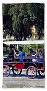 A Carriage Ride Through The Streets Of Katakolon Greece Beach Towel
