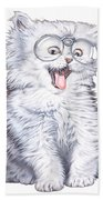 A Cat With Glasses Beach Towel