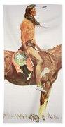 A Cheyenne Brave Beach Towel by Frederic Remington