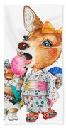 A Child Deer And Squirrel At The Summer Festival Beach Towel