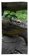 A Close Up Look At A Komodo Dragon Lizard Beach Towel