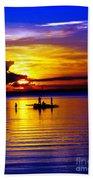 A Colorful Golden Fishermen Sunset Vertical Print Beach Towel