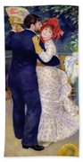 A Dance In The Country Beach Towel by Pierre Auguste Renoir