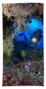 A Diver Peers Through A Coral Encrusted Beach Towel