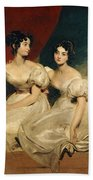 A Double Portrait Of The Fullerton Sisters Beach Towel by Sir Thomas Lawrence