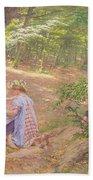 A Garland Of Flowers Beach Towel by Frigyes Friedrich Miess