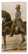 A Gentleman On Horseback With A Subsidiary Study Of The Horse's Head Beach Towel