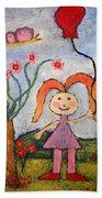A Girl With A Balloon Beach Sheet